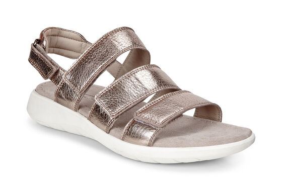 ECCO Soft 5 3-Strap Sandal (WARM GREY)