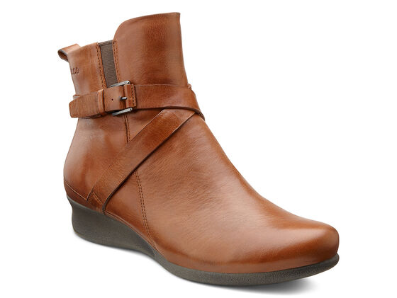 ECCO Abelone Cross Buckle Boot (MAHOGANY)