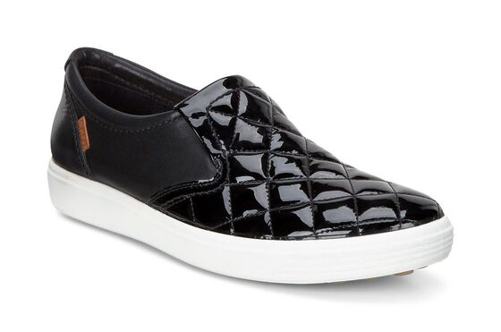 ECCO Soft 7 Quilted Slip On (BLACK/BLACK)