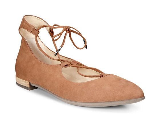 ECCO Shape Tie Up Ballerina (CAMEL)