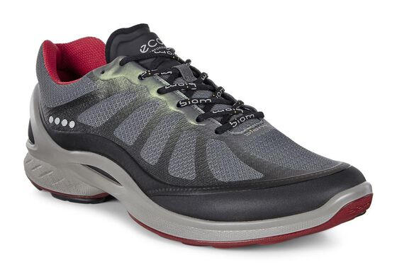 ECCO Mens BIOM Fjuel Racer (BLACK/DARK SHADOW/TOMATO)