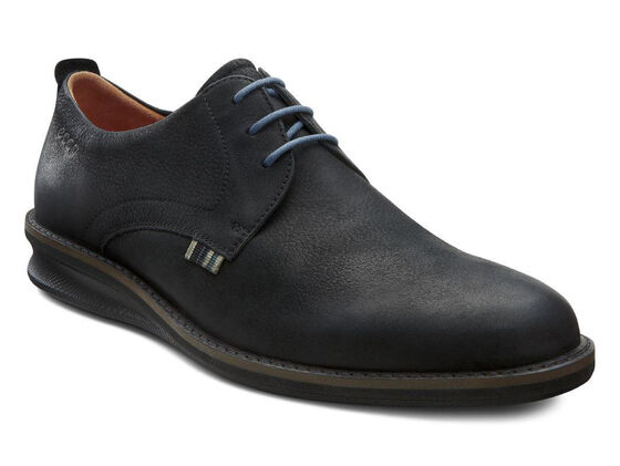 ECCO Contoured Plain Toe Tie (BLACK)