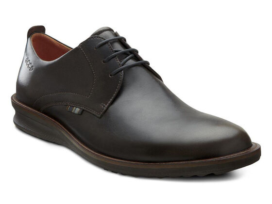 ECCO Contoured Plain Toe Tie (DARK CLAY)