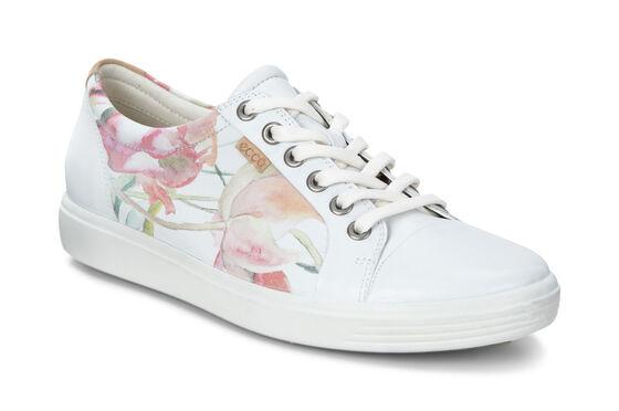 ECCO Womens Soft 7 Sneaker (WHITE FLORAL PRINT/WHITE/POWDER)