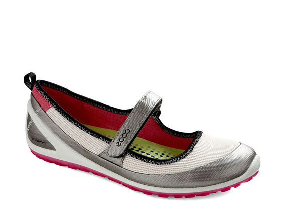 ECCO Womens BIOM Mary Jane (SILVER METALLIC/WHITE/BEETROOT)