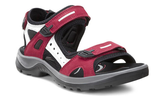 ECCO Womens Yucatan Sandal (CHILI RED/CONCRETE/BLACK)