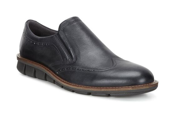 ECCO Jeremy Brogue Slip On (BLACK)