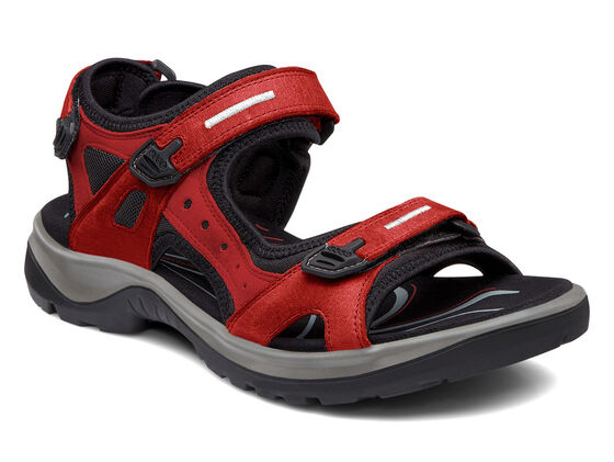 ECCO Womens Yucatan Sandal (CHILI RED/BLACK)