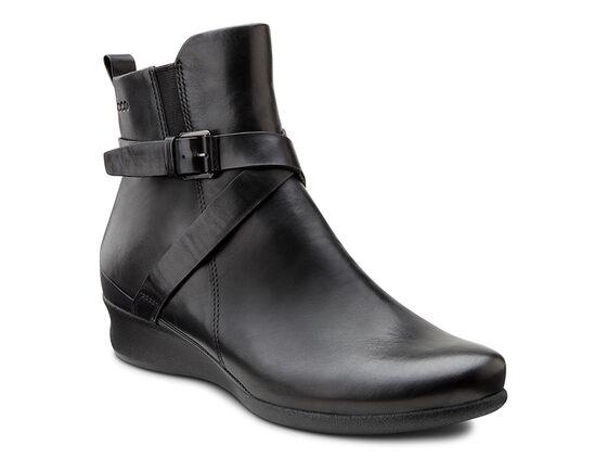 ECCO Abelone Cross Buckle Boot (BLACK)