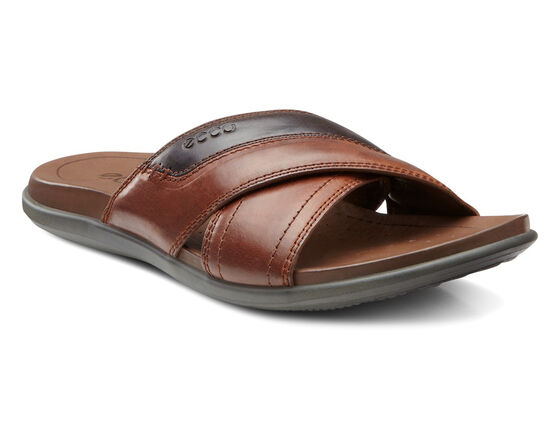 ECCO Chander Cross Slide (COGNAC/COFFEE)