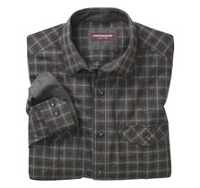 Double-Pocket Heather Denim Plaid Shirt