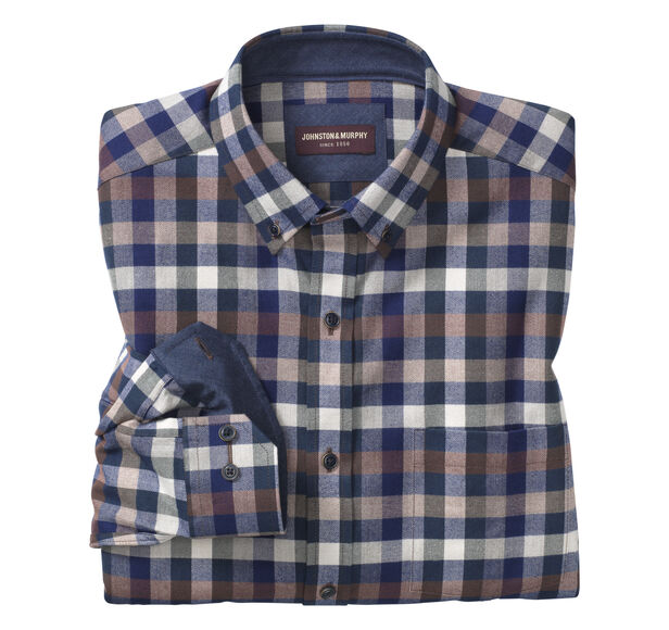 Heather Gingham Brushed-Cotton Button-Collar Shirt