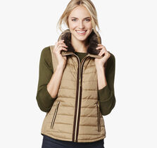 Fur-Collar Quilted Vest