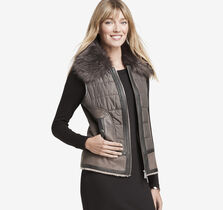 Mixed-Media Faux-Shearling Vest