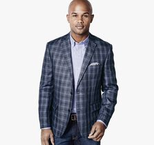 Thick Windowpane Linen Blazer