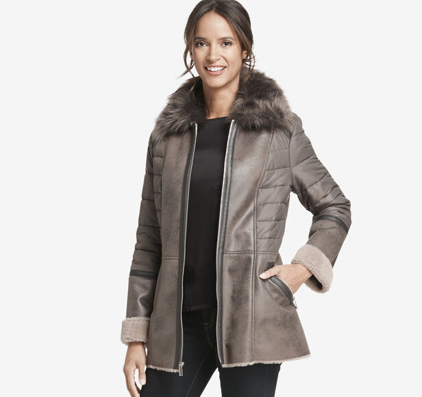 Mixed-Media Faux-Shearling Coat