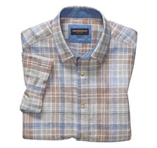 Large Plaid Linen Camp Shirt