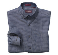 Dotted Diamond-Print Denim Shirt