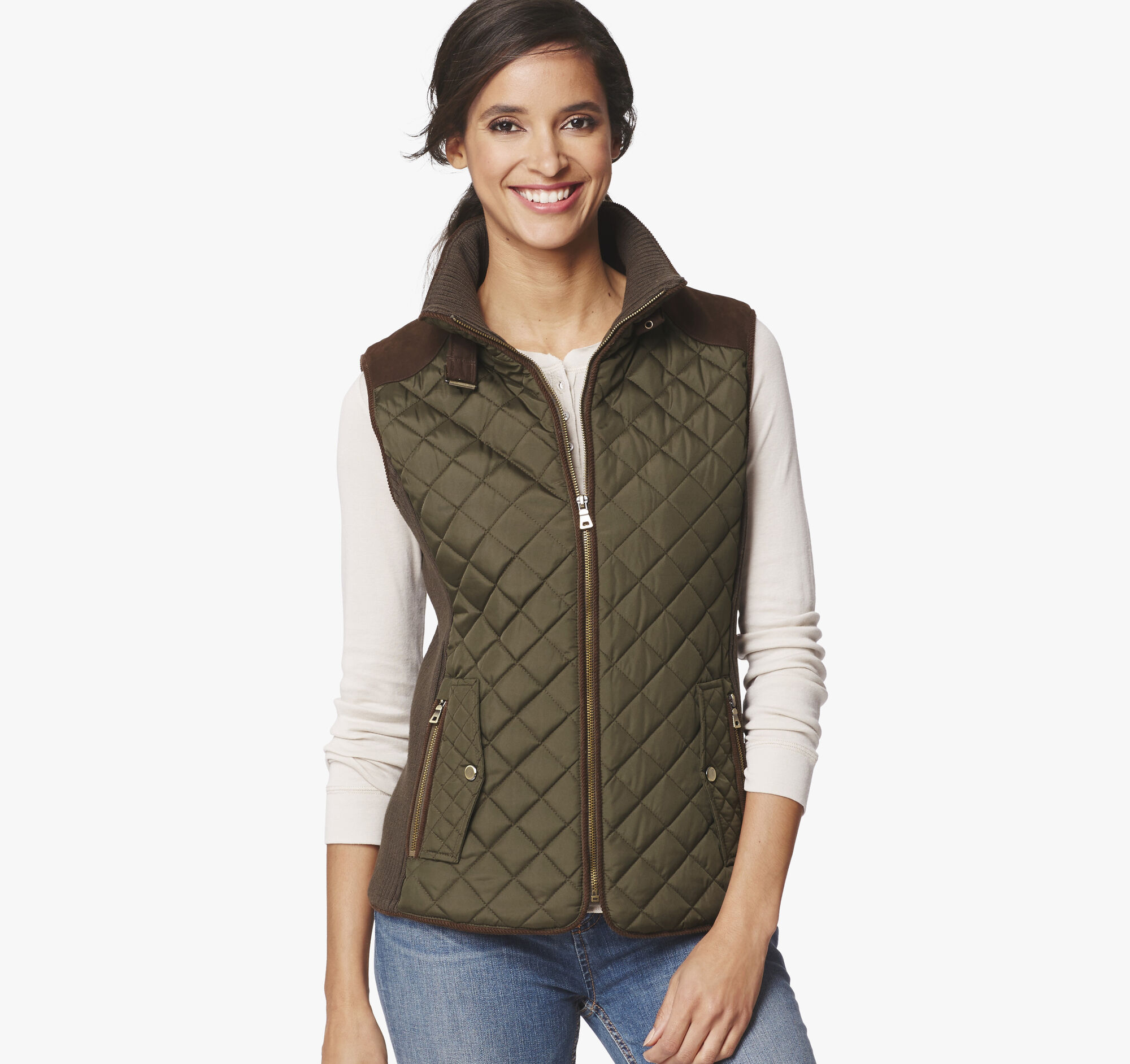 This quilted vest will have you in love with layering. A stand collar and zip front keeps you nice and cozy while princess seams create a flattering, fitted shape. Throw this on over your classic tees for an extra touch of style and warmth.