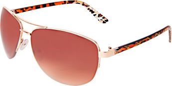 Semi Rimless Aviators with Gold and Crystal Leopard
