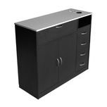 RTA458 Black Styling Station with Stainless Steel Laminate Top