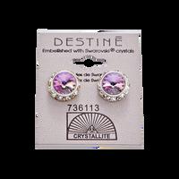Destine Violet Rhinestone Rivoli Earrings 12mm