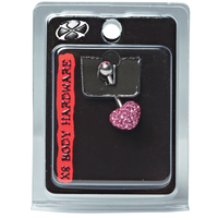Pink Heart 14G Navel Dangle