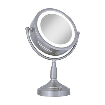 Zadro 8x 1x Satin Nickel Lighted Round Vanity Mirror
