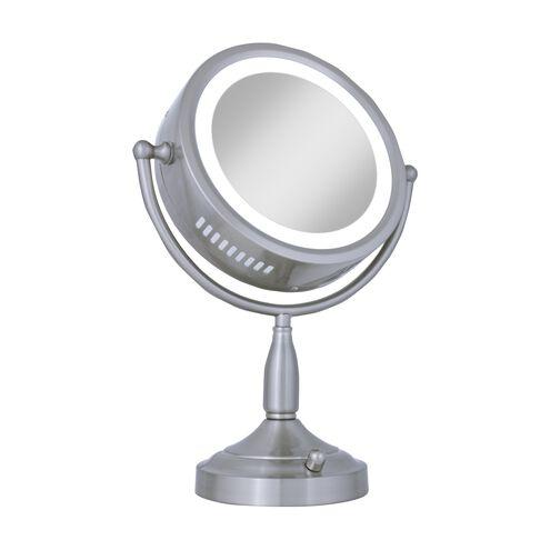 Zadro 8X-1X Satin Nickel Lighted Round Vanity Mirror