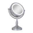 Satin Nickel Lighted Round Vanity Mirror (8X-1X)