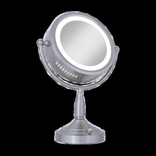 nullSatin Nickel Lighted Round Vanity Mirror (8X-1X)