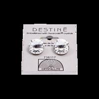 Destine Clear Rivoli Earrings 12mm