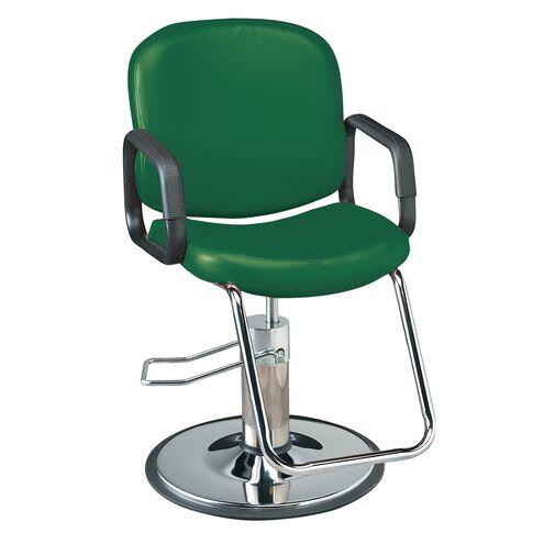 Pibbs Chameleon Hunter Green Styling Chair with Chrome Base