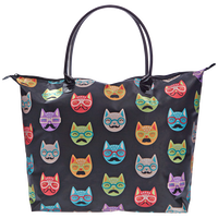 Black Satin Cat Print Tote Bag