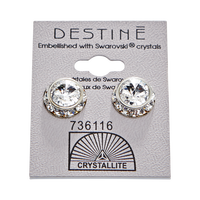 Destine Crystal Rhinestone Rivoli Earrings 12mm