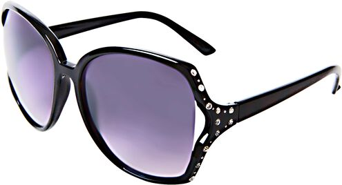 Oversized Black Sunglasses with Rhinestones and Vented Lenses