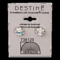 Destine Diamond Cut Earrings 9mm Aurora Borealis