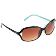 Ladies Fashion Sunglasses Two Tone Blue Plastic with Brown Lenses