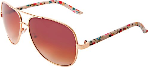 Ladies Fashion Aviator Sunglasses with Shiny Gold and Ditzy Floral