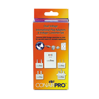 Dual Voltage International Plug Adaptors and Voltage Converter Set
