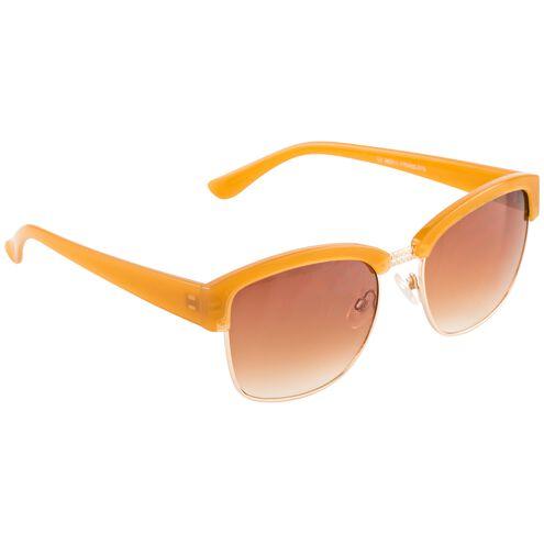 Ladies Fashion Sunglasses Plastic Two Tone Tan with Brown Lenses