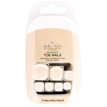 White Tip Press On Toe Nails