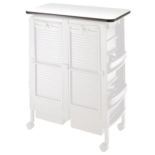 Double Cabinet Trolley Topper White