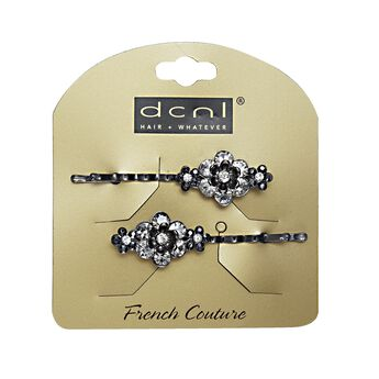 Black Flower Rhinestone Bobbies