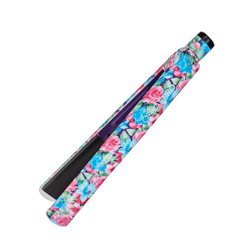 Blue Floral Flat Iron 1 Inch