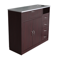 RTA458 Mahogany Styling Station with Stainless Steel Laminate Top