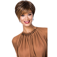 Golden Brown Auburn Highlights Feathered Pixie Wig