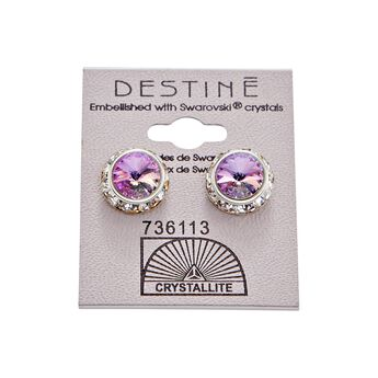 Destine Violet Rhinestone Rivoli Earrings 12mm