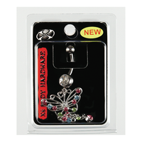 Rainbow Butterfly 14G Navel Dangle