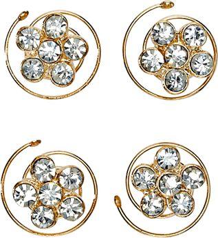 Flower Rhinestone Spinners 4 Count